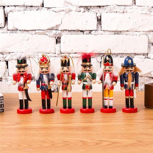 12CM Wooden Nutcracker Soldier Handcraft Walnut Puppet Toy Christmas Decor Gift
