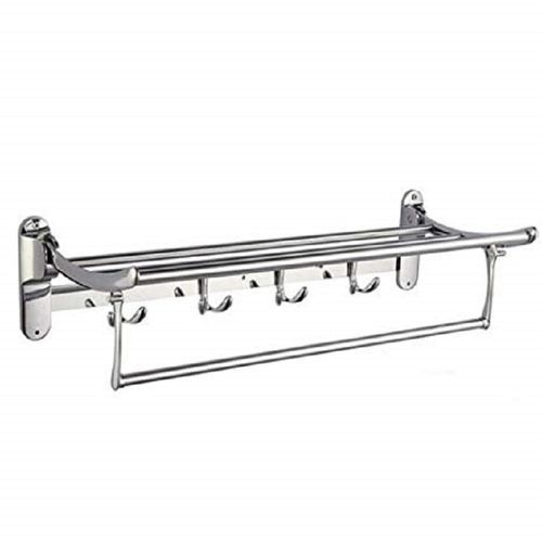 Bathroom Towel Organizer Hanger With Rail Shelf Rack