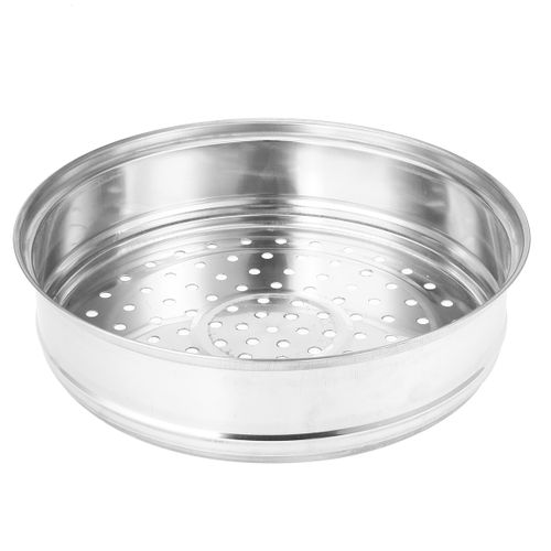 2 Tier 27.5cm Stainless Steel Food Steamer Pot Pan Vegetable Cooker W/ Glass Lid