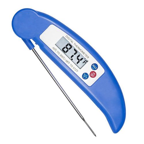 Instant Read Meat Thermometer, Super Fast Accurate Cooking Thermometer Electronic Kitchen Thermometer With Digital LCD, Fordable Long Probe For Food, Candy, Milk, Tea, BBQ Grill Smokers