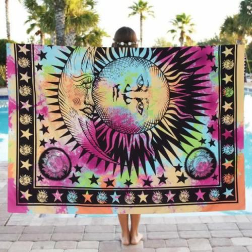 201648502476 020 India Bohemian Hippie Tapestry Beach Throw Roundie Mandala Towel Yoga Mat Square