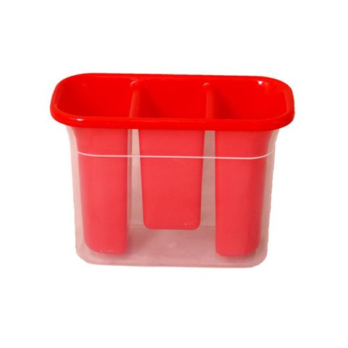 Cutlery Holder With Drain - Red