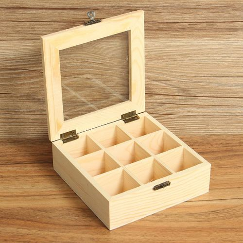 2PCS 9 Compartments Wooden Tea Bag Jewelry Organizer Chest Storage Box Glass Top Log