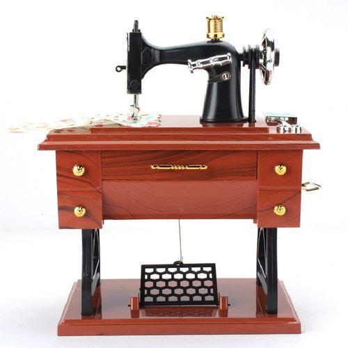 Retro Vintage Sewing Machine Music Box Birthday Gift Home Decoration