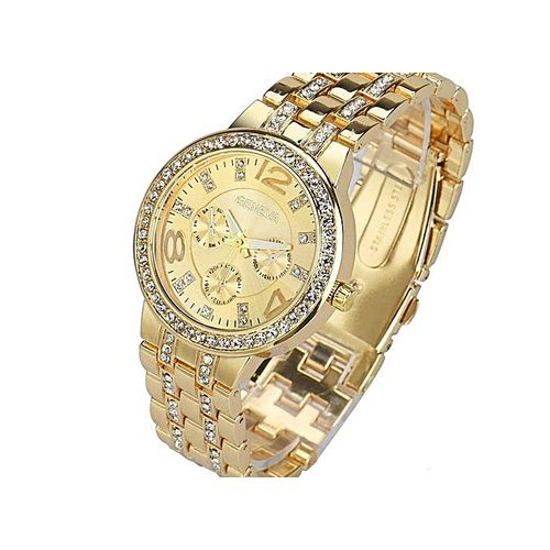 Exquisite Luxury Crystal Quartz Rhinestone Crystal Wristwatch - Gold