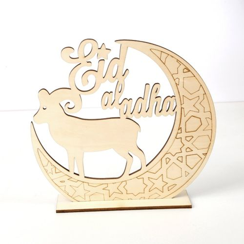 OR Jm01336 Wooden Eid Al-fitr Diy Moon Sheep Home Decoration Daily Necessities Wood Color