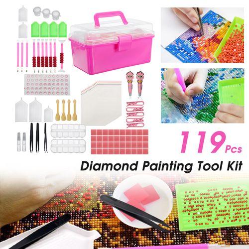 121Pcs 5D Diamond Painting Storage Box Pen DIY Embroidery Cross Stitch Tool Gift