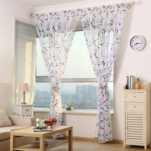 Honana BX Home Decoration Curtains Window Sheer Drapes Tulle Curtain For Living Room Bedroom M