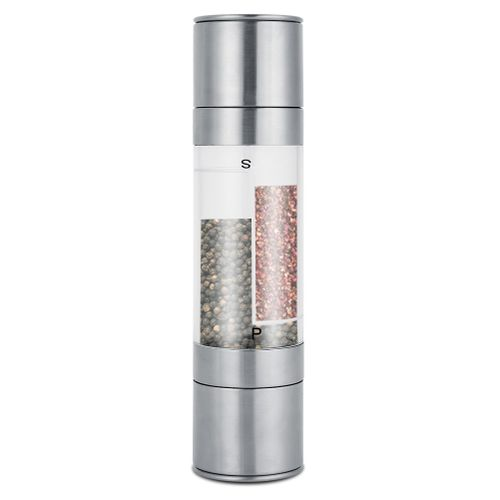 Stainless Steel 2 In 1 Manual Pepper Grinder Spices Salts Mill Shaker Kitchen Tool
