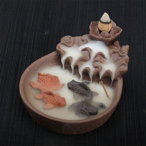 Fish Decor Smoke Buddha Ceramic Backflow Cone Incense Burner Buddhist Sandalwood
