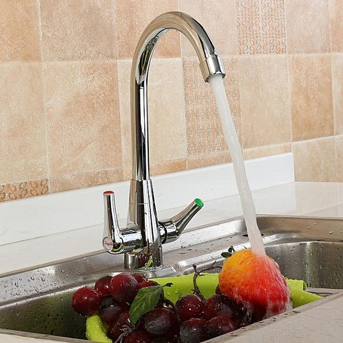 Spring Chrome Twin Handle Swivel Kitchen Faucet Mixer Tap With Sprayer Sink