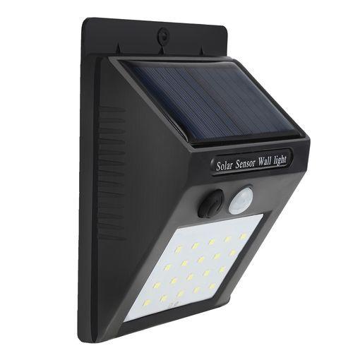 20-LED Wireless Motion Sensor Solar Light Wall Lamp For Corridor Hallway Gate Courtyard - Black