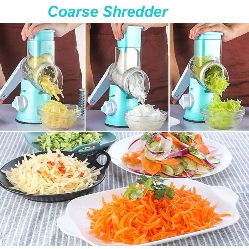 Swift Rotary Drum Grater Vegetable Cheese Cutter Slicer Shredder Grinder With 3 Interchanging Stainless Steel Drums