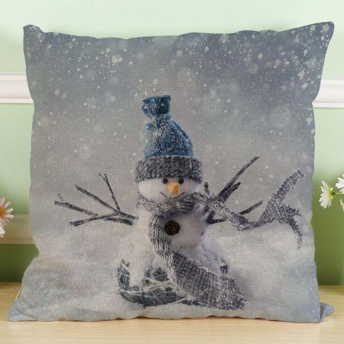 Whiskyky Store New Christmas Snowman Cotton Linen Pillow Case Sofa Cushion Cover Home Decor I-Multicolor