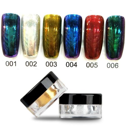 6 COLORS 2g/Box Glitter Magic Mirror Chrome Effect Dust Shimmer Nail Art Powder-