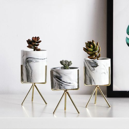 Ceramic Plant Pot Water Succulent Dry Flower Stand Vase Planter Tool Geometric European Style With Iron Wire Metal Rack Holder Stand Home Decoration