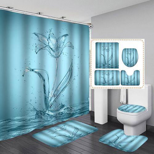 3D Water Flower Waterproof Print Bathroom Shower Curtain Toilet Seat Cover Mat( 4pcs Full Set)