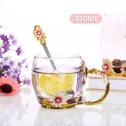 Coffee Chrysanthemum Enamel Craft Water Cup Drink Mug With
