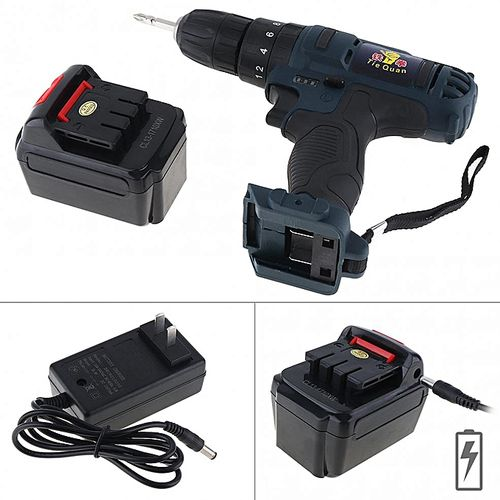 110 - 220V Impact Cordless 21V Electric Drill / Screwdriver With 45 N*M Lithium Battery And Two-speed Adjustment Button