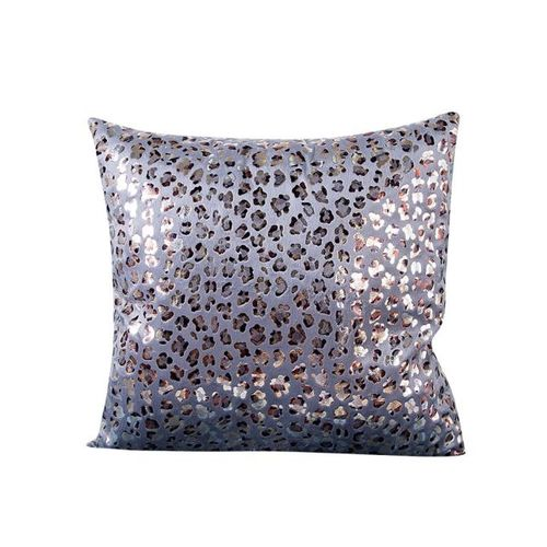 Houseworkhu Leopard Bronzing Sofa Bed Home Decor Pillow Case Cushion Cover -Silver