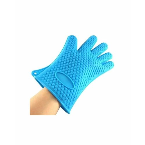 Silicone Kitchen Heat Resistant Glove Pot Holder Baking BBQ Cooking Oven Mitt Blue -1pc