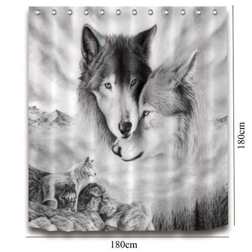 180x180cm White Grey Wolf Shower Curtain Square Bathroom Waterproof
