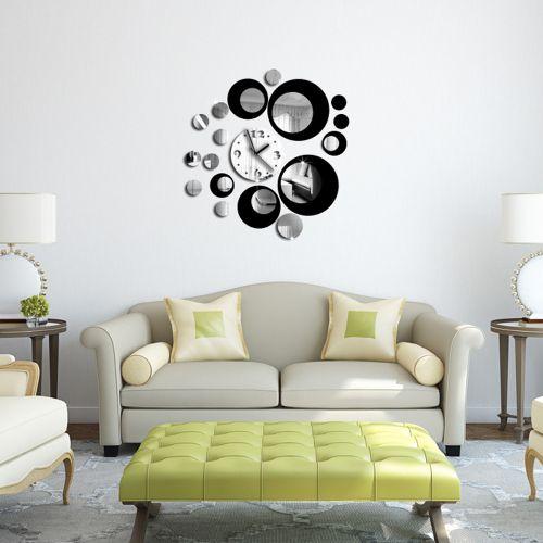 Fashion Fashion Black Circle Around 3D Wall Clock Wall Sticker DIY Art Home Decoration