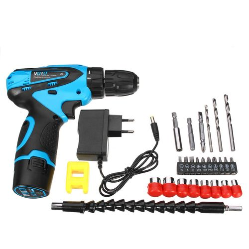 VOTO 12V Lithium Cordless Rechargeable Power Drill Electric Screwdriver Two Speed With Accessories