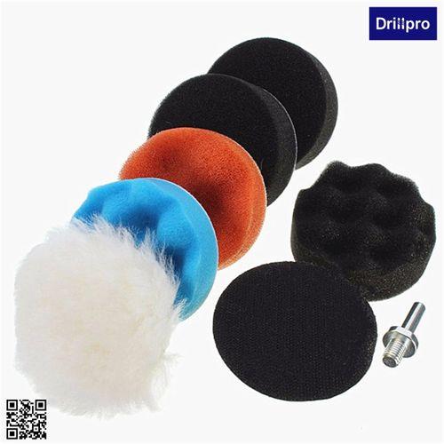 8pcs 3'' Sponge Waxing Polishing Buffing Woolen Buffer Pad Kit For Car Polisher