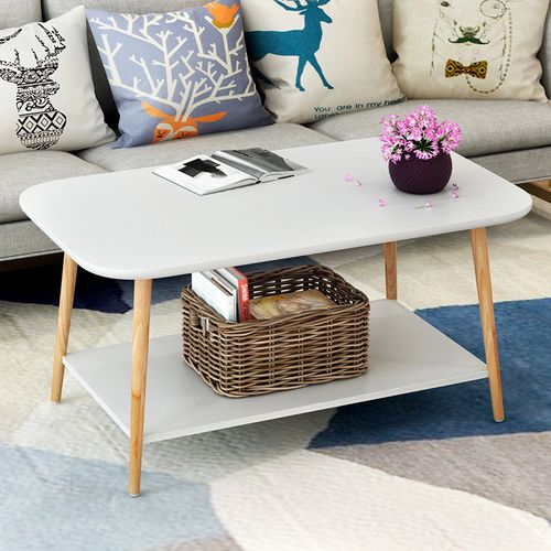 QUKAU Modern Tea Table L80*W48*H49CM Square Wooden Table Sofa Side Table Bedroom Corner Several Bedside Table