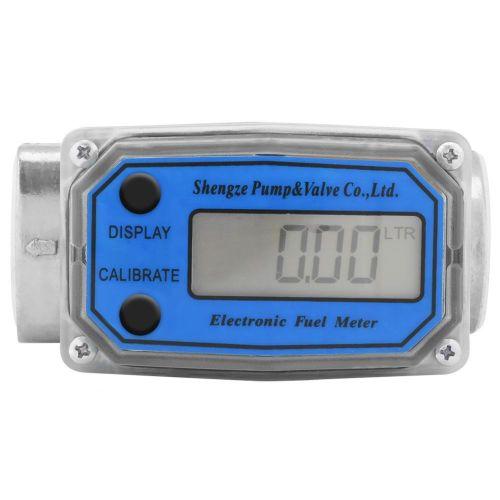 "Turbine Flowmeter Diesel Fuel Flow Meter Mini Digital 15-120L 1"" NPT Blue"