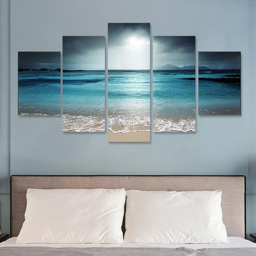 5Pcs Sun Seaside Art Canvas Painting Picture Print Home Wall Decor Decorative Unframed
