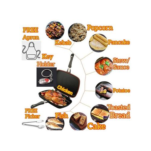 40cm Dessini Double Sided Die Cast Barbecue BBQ Grill Non Stick Fry Sauce Pressure Pan