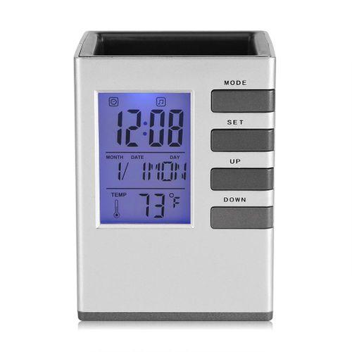 Multi-function LED Digital LCD Screen Temperature Display Alarm Clock Pen Holder Case Gift