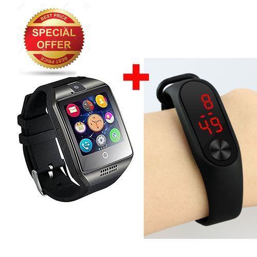 2 In 1 Q18 Bluetooth Smart Sim Whatsapp Camera Wrist Watch + LED Watch