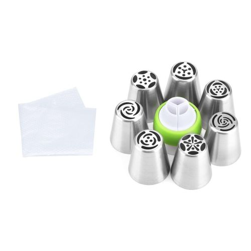 7Pcs Cake Cupcake Tube Pastry Nozzle And 3Pcs Disposable Bag With A Three Colors Converter Confectionery Baking Tool