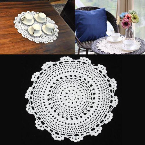 "12"" Cotton Vintage Floral Hand Crochet Beige Doily Round Flower Table Placemat"