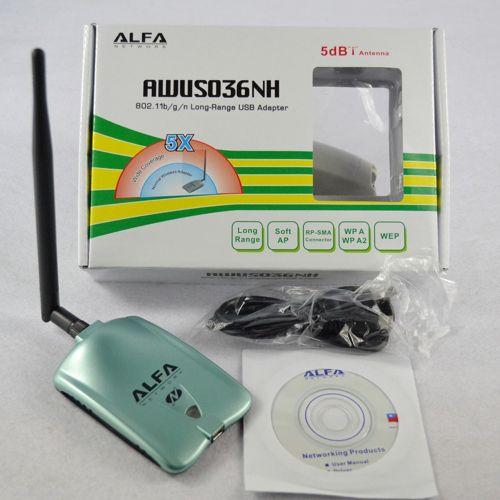 ALFA AWUS036NH Network Ralink 3070L Wifi Network Card 2000MW ALFA Wireless WiFi USB Adapter With 5dbi Antenna White