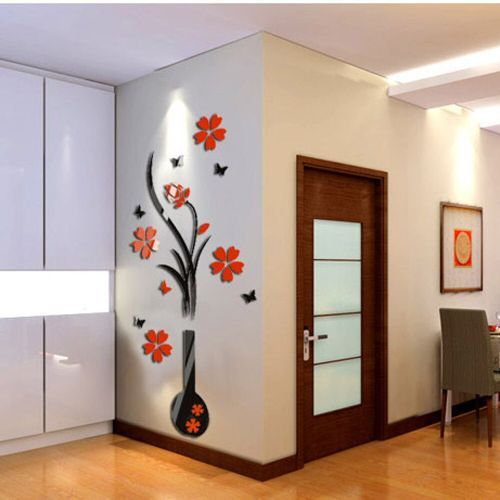Wall Stickers Diy Vase Flower Tree Crystal 3d Wall Stickers