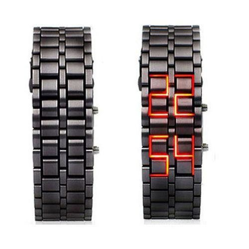 Luxury Black Full Metal Digital Lava Wrist Watch- Unisex