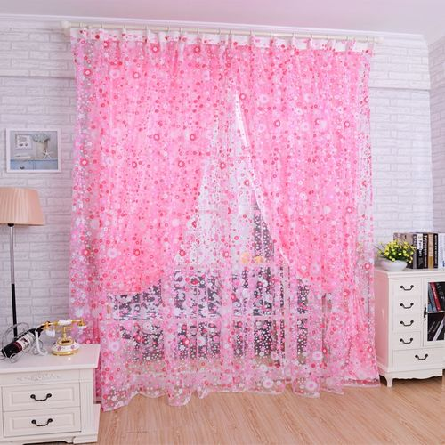 Watermalend Print Floral Voile Door Curtain Window Room Curtain Divider Scarf Pink