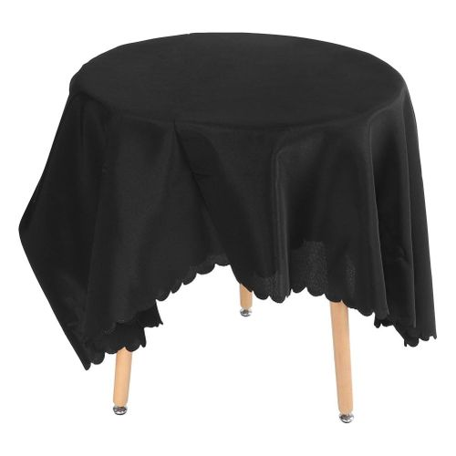 """Black White Solid Color Round Table Cloth Cover 120"""" 90"""" Tablecloth Wedding Birthday Decor"""
