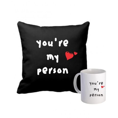'You Are My Person'' Throw Pillow And Mug- Black