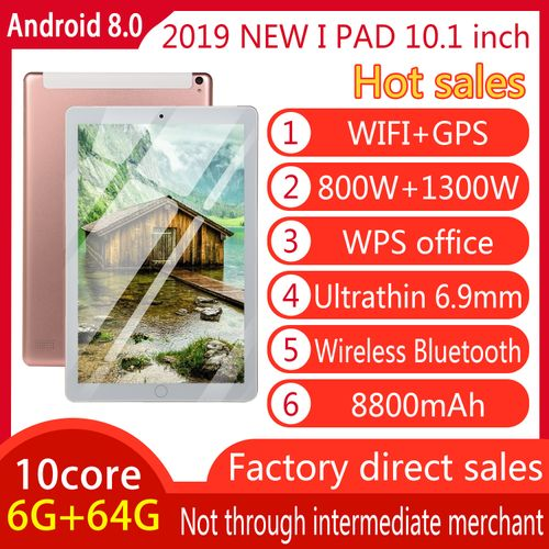 Pad Tablet PC 10.1'' 64G Android 8.0 Octa 10 Core HD WIFI Dual SIM Card-Pink