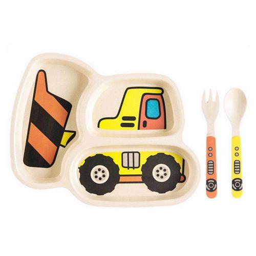 KidsFunwares Me Time Meal Set Cartoon Car Compartment Plate