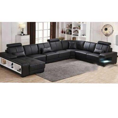 Grojian- Bay 9 Seater Black Leather U- Sectional Set