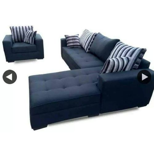 L Shape Sofa Black With Free OTTOMAN (LAGOS DELIVERY)