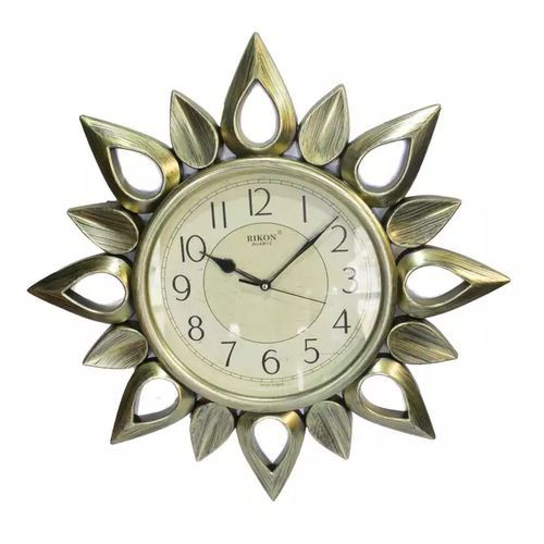 Golden/cream Round Sun Wall Clock