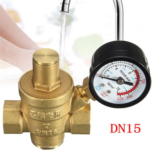 DN15 NPT 1/2'' Brass Water Pressure Reducing Regulator Reducer With Gauge Adjustable Water Pressure Reducing Valve