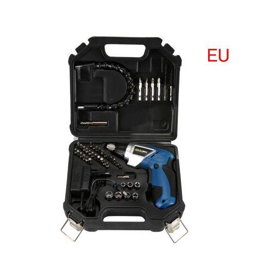 46 In 1 Set 4.0V Cordless Electric Screwdriver Power Drills Bit Kit EU/US Plug Blue